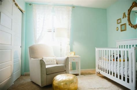 Cute Aqua And Gold Baby Girl's Nursery Inspiration