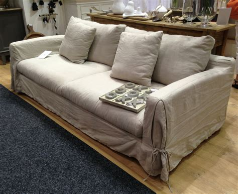 Long Island Linen Sofa   Removable Covers ? Allissias Attic & Vintage French Style