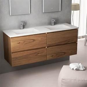 Meuble Vasque Double : meuble double vasque en noyer vasque en en pierre cordoue ~ Teatrodelosmanantiales.com Idées de Décoration