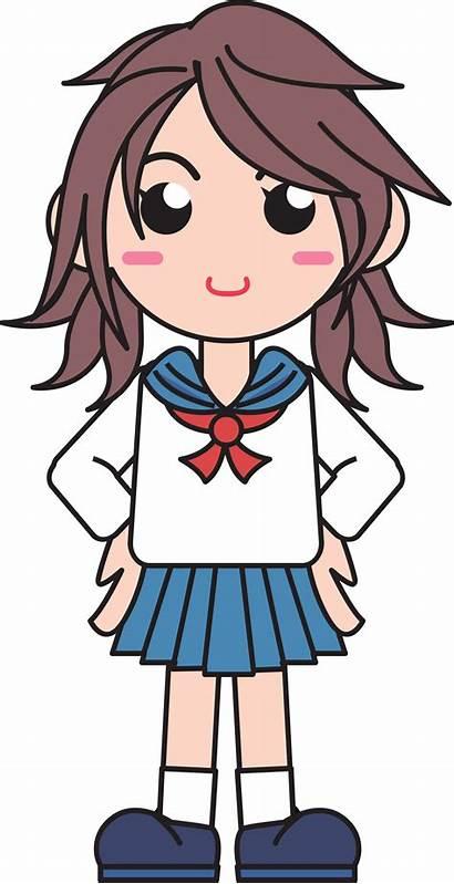 Clipart Japanese Sekolah Gambar Vektor Kartun Uniform