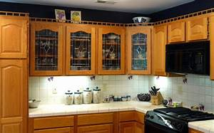 wood and glass kitchen cabinets design decoration With kitchen cabinets lowes with 3d stadium view wall art
