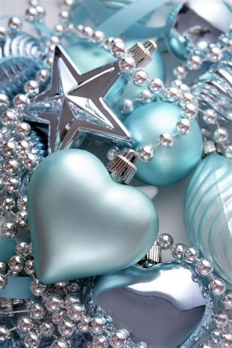 blue ornaments in light blue