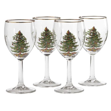 spode christmas tree set of 4 wine glasses spode usa