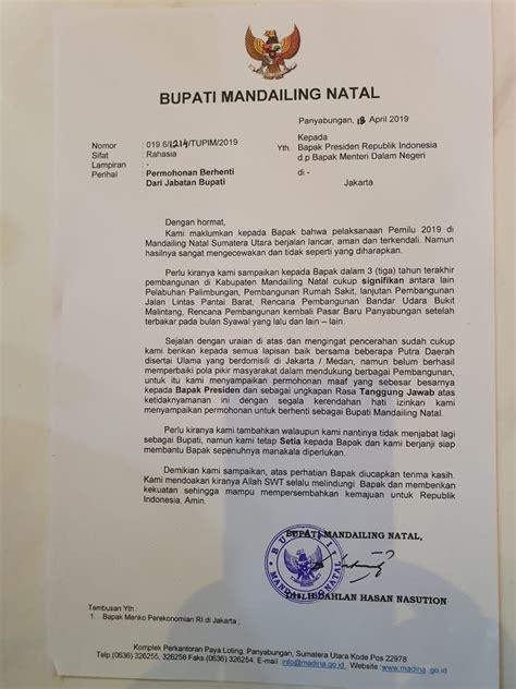 contoh surat pengunduran diri sebagai pejabat pembuat