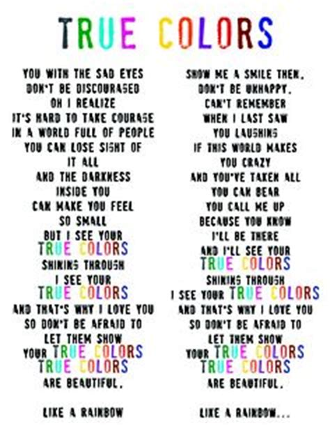 song true colors used the song quot true colors quot for our high school quot awareness