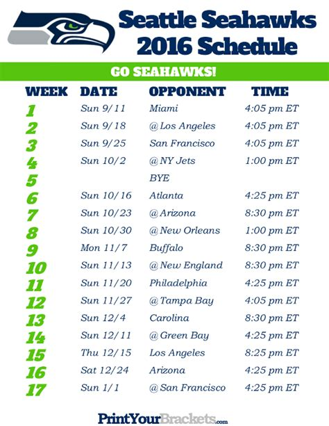 printable seattle seahawks schedule  football season