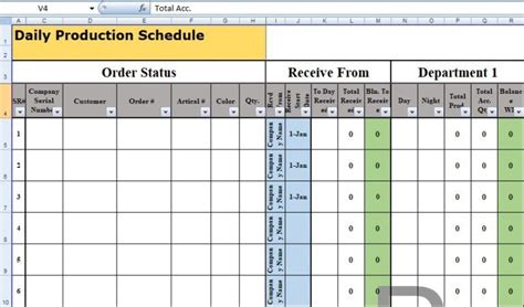 daily production schedule template excel daily schedule