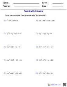 Algebra 1 Factoring Polynomials Worksheet