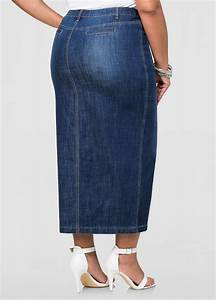 Front Slit Long Jean Skirt-Plus Size Maxi Skirts-Ashley Stewart-034-SKA43239XX
