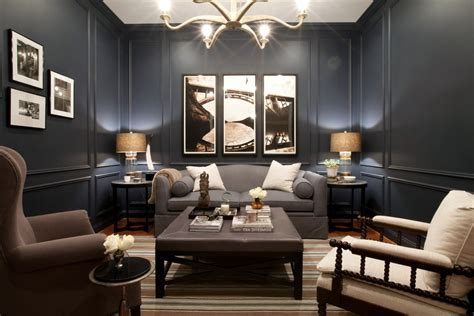 navy blue sectional living room transitional with