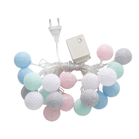 cotton balls led string lights christmas home party