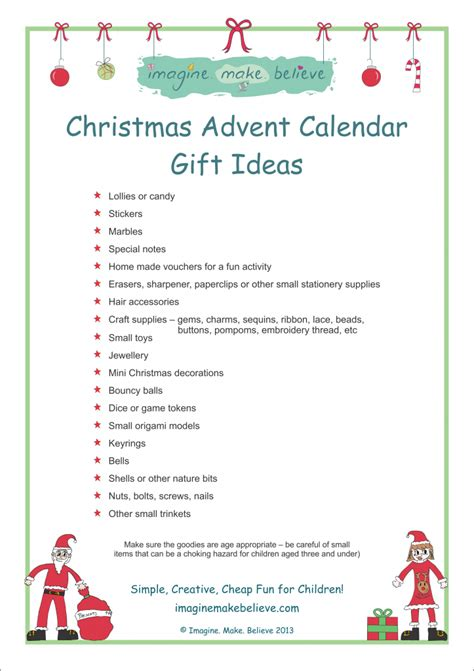 christmas advent gift ideas calendar template 2016