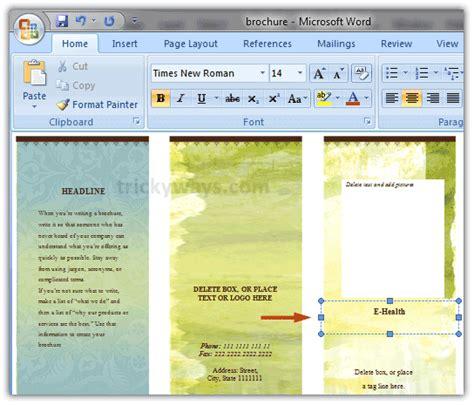 Brochure Template For Word 2007 by Create Brochure In Word 2007 Or 2010 Make Brochure