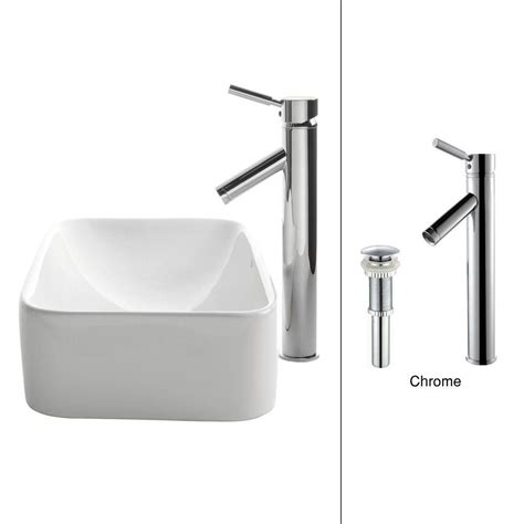 rectangle vessel sink home depot kraus rectangular ceramic vessel sink in white with sheven