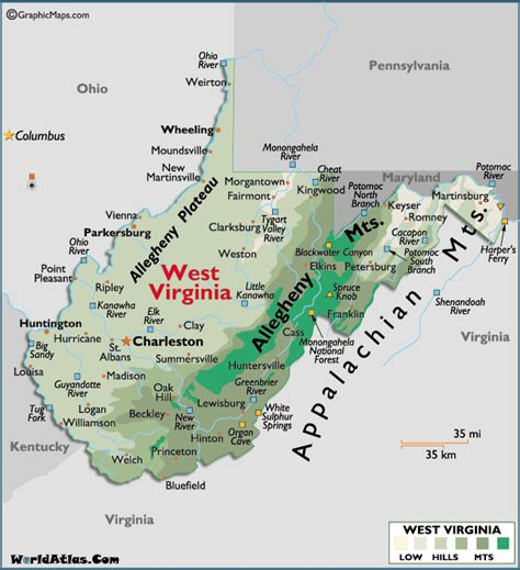 Map of West Virginia Large Color Map