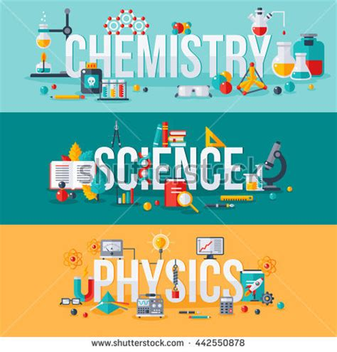 Stem Adobe Education Chemistry Science Physics Words Flat Scientific Stock Vector 442550878 Shutterstock