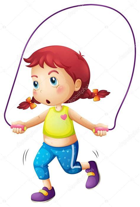Uma Menina Bonitinha Brincando De Pular Corda — Vetor De