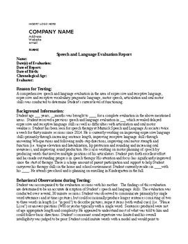 speech therapy evaluation report  school setting tpt