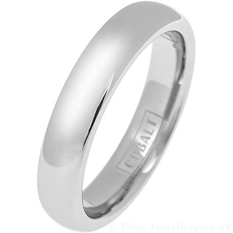 5mm polished classic court cobalt wedding ring