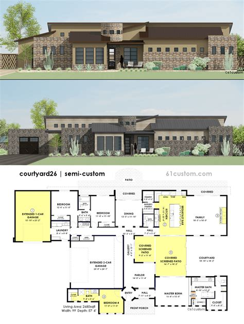 courtyard home plans contemporary side courtyard house plan 61custom
