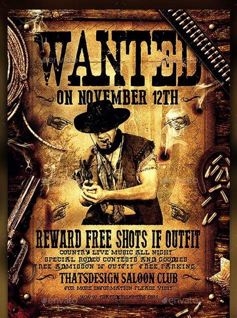 western wanted poster  printable word  psd
