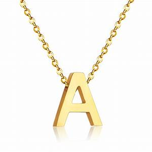 fashion stainless steel initial necklace silver gold With custom letter necklace gold