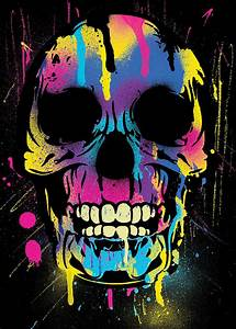Cool Colorful Skull With Paint Splatters And Drips Digital ...