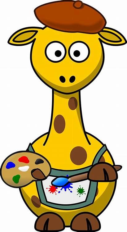 Painter Cartoon Clip Clipart Giraffe Artist Giraffes