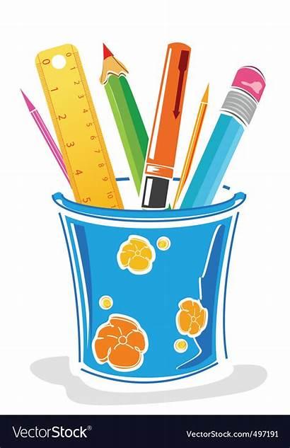Box Pencils Pens Vector Pencil Pot Clipart