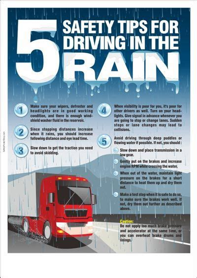 safety tips  driving   rain workplace safety