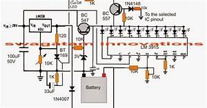 3v  4 5v  6v  9v  12v  24v  Automatic Battery Charger With Indicator Circuit