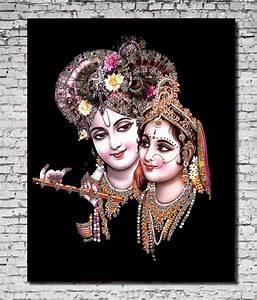 MeSleep Canvas Radha Krishna Faces Painting Without Frame