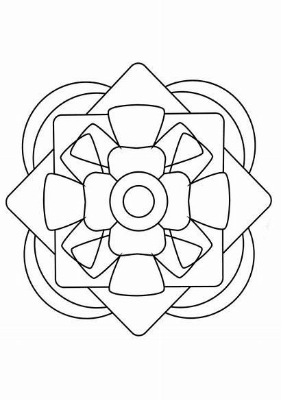 Mandala Coloring Simple Mandalas Pages Geometric Adults