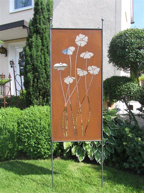 Metall Deko Wand Garten by Mohnblume