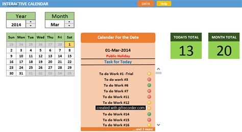 Interactive Excel Calendar Template by Interactive Calendar Template Made With Excel And Vba