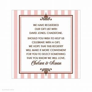alannah rose wedding invitations stationery shop With wedding gift registry message