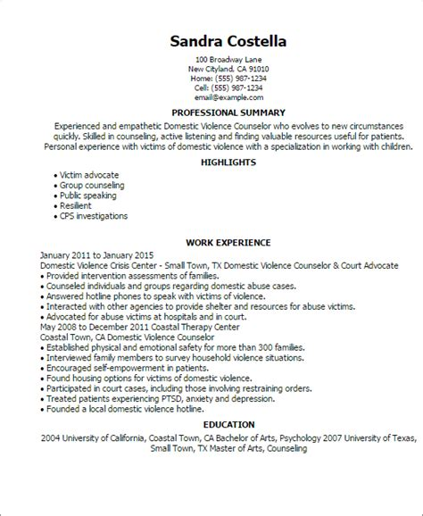 Victim Advocate Resume Objective by Professional Domestic Violence Counselor Templates To Showcase Your Talent Myperfectresume