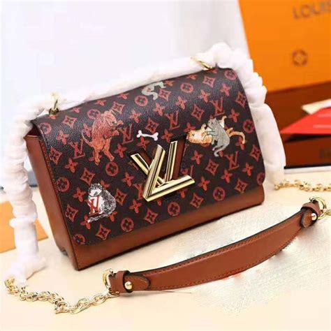 louis vuitton lv women twist mm handbag  classic monogram canvas brown lulux