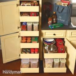 kitchen cabinet shelving ideas kitchen storage cabinet rollouts the family handyman