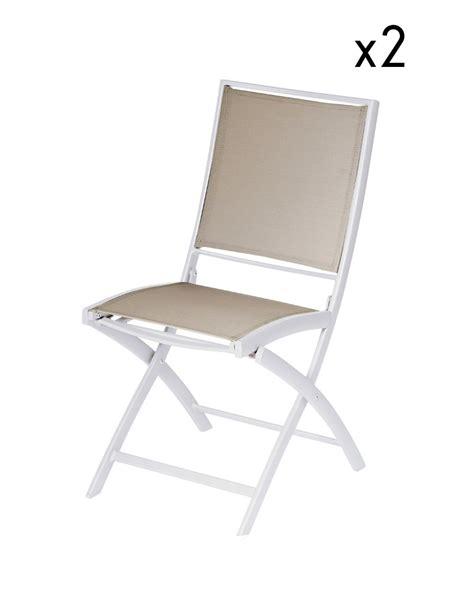 chaises pliante lot de 2 chaises pliantes pol aluminium blanc toile taupe