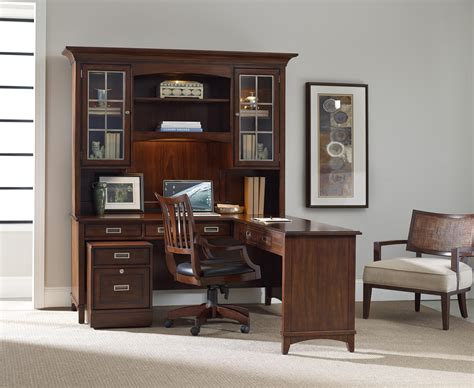 Walnut L Shaped Desk And Hutch Set With Rolling Filing