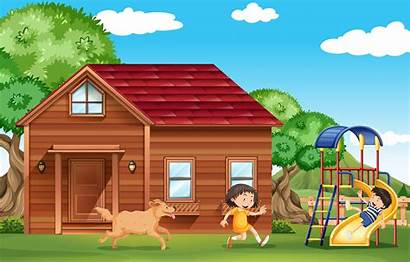Outside Playing Dog Children Vector Clipart Playground