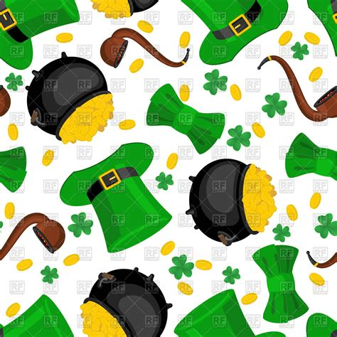 St Clip St S Day Seamless Pattern Leprechaun Hat And