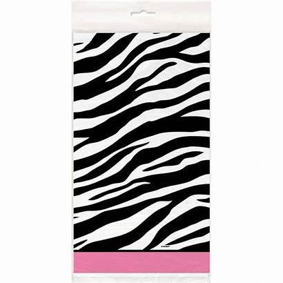 Zebra Table Plastic Tablecover Stripes Pink Unique