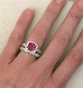 cushion cut pink tourmaline and engagement ring and wedding band with milgrain edging - Pink Tourmaline Engagement Ring
