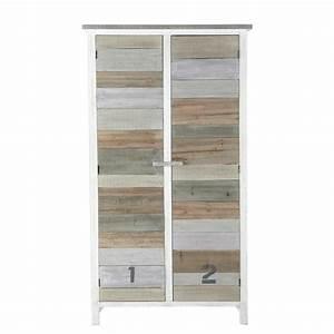 Armoire Bois Blanc : armoire en bois blanc l 110 cm noirmoutier maisons du monde ~ Teatrodelosmanantiales.com Idées de Décoration