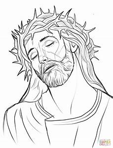 Christ With A Crown Of Thorns Coloring Page Free