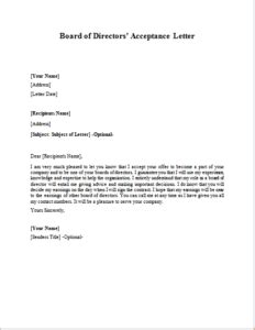 board  directors acceptance letter writelettercom