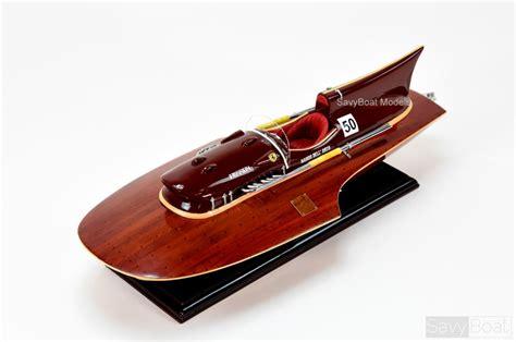 "Ferrari hydroplane speed boat model dimension: Ferrari Hydroplane 22"" - Handcrafted Wooden Racing Boat Model"