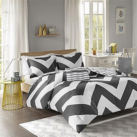 libra reversible chevron comforter set in black white